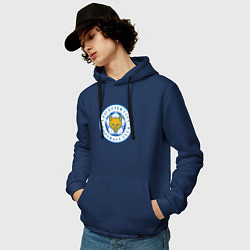 Толстовка-худи хлопковая мужская Leicester City FC цвета тёмно-синий — фото 2