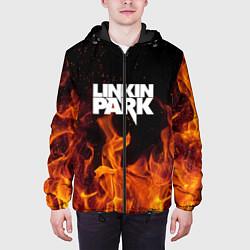Куртка с капюшоном мужская Linkin Park: Hell Flame цвета 3D-черный — фото 2