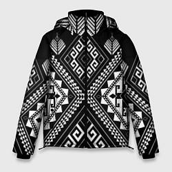 Куртка зимняя мужская Индейские мотивы цвета 3D-черный — фото 1