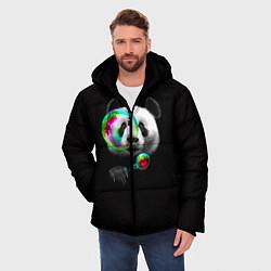 Куртка зимняя мужская Панда и мыльный пузырь цвета 3D-черный — фото 2
