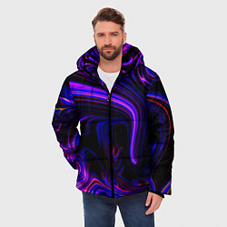Куртка зимняя мужская Цветные разводы цвета 3D-черный — фото 2