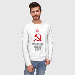Лонгслив хлопковый мужской Working class hero цвета белый — фото 2