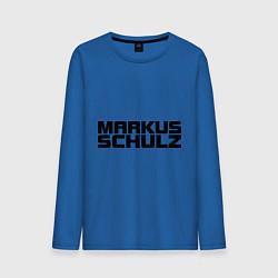 Лонгслив хлопковый мужской Markus Schulz цвета синий — фото 1