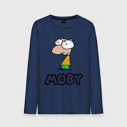 Лонгслив хлопковый мужской Moby цвета тёмно-синий — фото 1