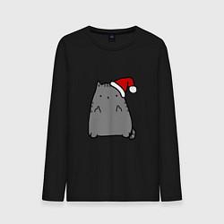 Лонгслив хлопковый мужской New Year Kitty FCK цвета черный — фото 1