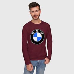 Мужской хлопковый лонгслив с принтом Logo BMW, цвет: меланж-бордовый, артикул: 10014391200015 — фото 2
