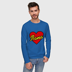 Лонгслив хлопковый мужской Любимый папа цвета синий — фото 2