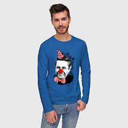 Лонгслив хлопковый мужской Евгений Петросян клоун цвета синий — фото 2