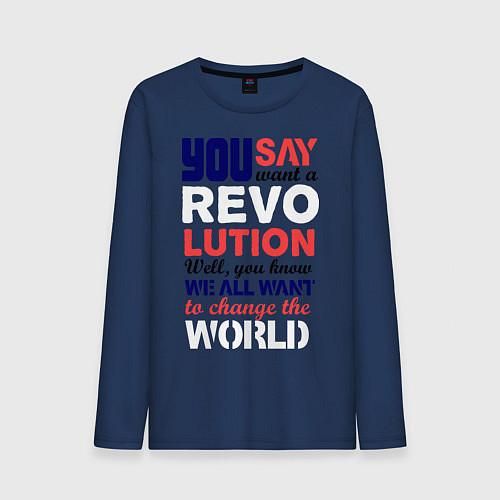 Мужской лонгслив The Beatles Revolution / Тёмно-синий – фото 1