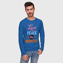 Лонгслив хлопковый мужской Love peace the Beatles цвета синий — фото 2
