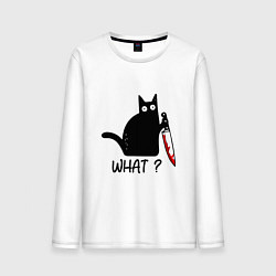 Лонгслив хлопковый мужской What cat цвета белый — фото 1