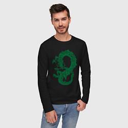 Лонгслив хлопковый мужской Древний китайский дракон цвета черный — фото 2