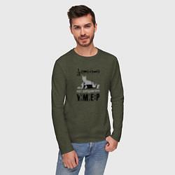 Лонгслив хлопковый мужской Кот Шредингера цвета меланж-хаки — фото 2
