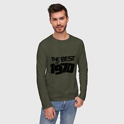 Лонгслив хлопковый мужской The best of 1970 цвета меланж-хаки — фото 2