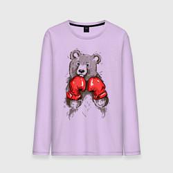 Лонгслив хлопковый мужской Bear Boxing цвета лаванда — фото 1