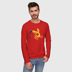 Лонгслив хлопковый мужской Чак-птица цвета красный — фото 2