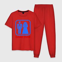 Пижама хлопковая мужская Game over цвета красный — фото 1