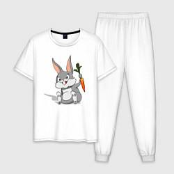 Пижама хлопковая мужская Зайка с морковью цвета белый — фото 1