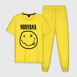 Пижама хлопковая мужская Nirvana цвета желтый — фото 1