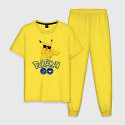 Пижама хлопковая мужская Pokemon GO цвета желтый — фото 1