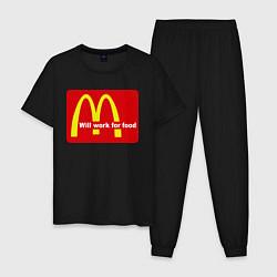 Пижама хлопковая мужская Will work for food цвета черный — фото 1