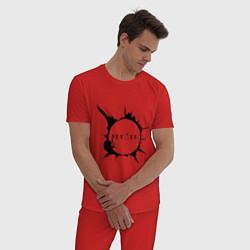 Пижама хлопковая мужская Heroes spot цвета красный — фото 2