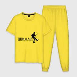 Пижама хлопковая мужская House MD цвета желтый — фото 1