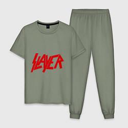 Пижама хлопковая мужская Slayer цвета авокадо — фото 1