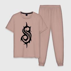 Пижама хлопковая мужская Slipknot цвета пыльно-розовый — фото 1