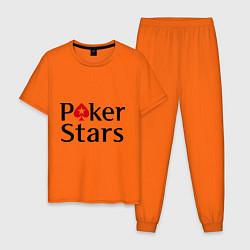 Пижама хлопковая мужская Poker Stars цвета оранжевый — фото 1