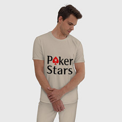 Пижама хлопковая мужская Poker Stars цвета миндальный — фото 2