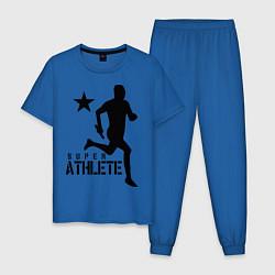 Пижама хлопковая мужская Лёгкая атлетика цвета синий — фото 1