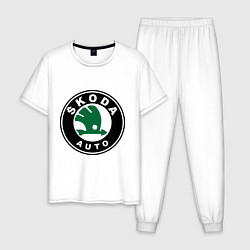 Пижама хлопковая мужская Skoda цвета белый — фото 1