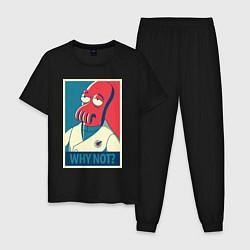 Пижама хлопковая мужская Zoidberg: Why not? цвета черный — фото 1