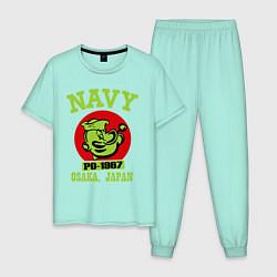 Пижама хлопковая мужская Navy: Po-1967 цвета мятный — фото 1