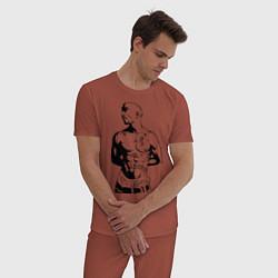 Пижама хлопковая мужская 2pac цвета кирпичный — фото 2
