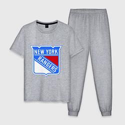 Пижама хлопковая мужская New York Rangers цвета меланж — фото 1