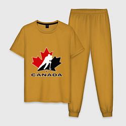Пижама хлопковая мужская Canada цвета горчичный — фото 1