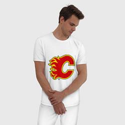 Пижама хлопковая мужская Calgary Flames цвета белый — фото 2