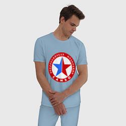 Пижама хлопковая мужская Федерация САМБО цвета мягкое небо — фото 2