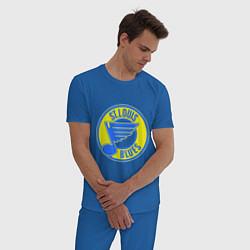 Пижама хлопковая мужская St.luis blues цвета синий — фото 2