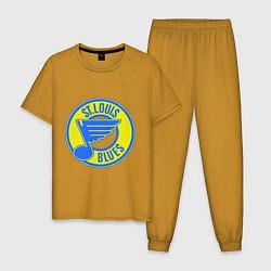 Пижама хлопковая мужская St.luis blues цвета горчичный — фото 1
