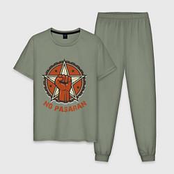 Пижама хлопковая мужская No Pasaran цвета авокадо — фото 1