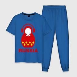 Пижама хлопковая мужская Russia dj цвета синий — фото 1