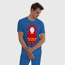 Пижама хлопковая мужская Russia dj цвета синий — фото 2