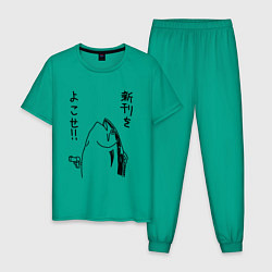 Пижама хлопковая мужская Fishgun цвета зеленый — фото 1