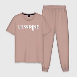 Пижама хлопковая мужская Lil Wayne цвета пыльно-розовый — фото 1