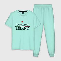 Пижама хлопковая мужская Curva Sud: Milano FC цвета мятный — фото 1