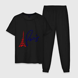 Пижама хлопковая мужская I Paris цвета черный — фото 1