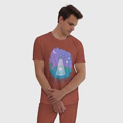 Пижама хлопковая мужская Alien цвета кирпичный — фото 2